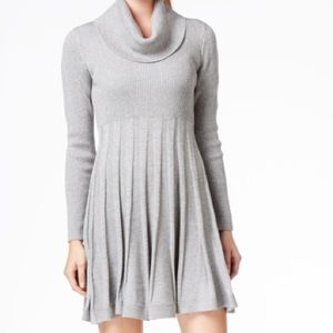 Calvin Klein pleated cowl neck fit & flare dress